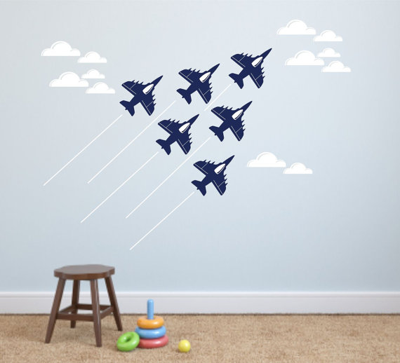 Set Of 6 Cool Military Jet Airplane Wall Decals