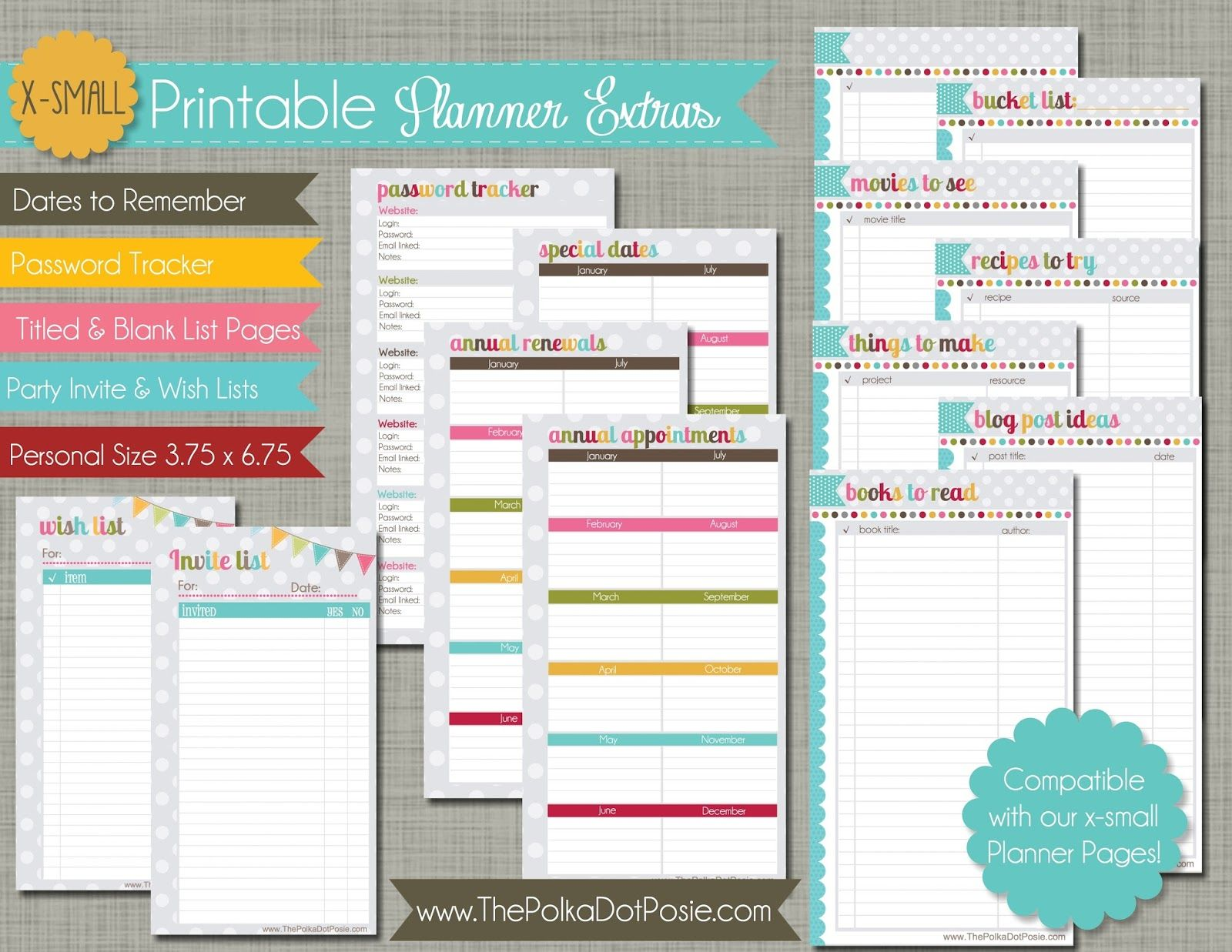 the polka dot posie new x small personal size planner pages for