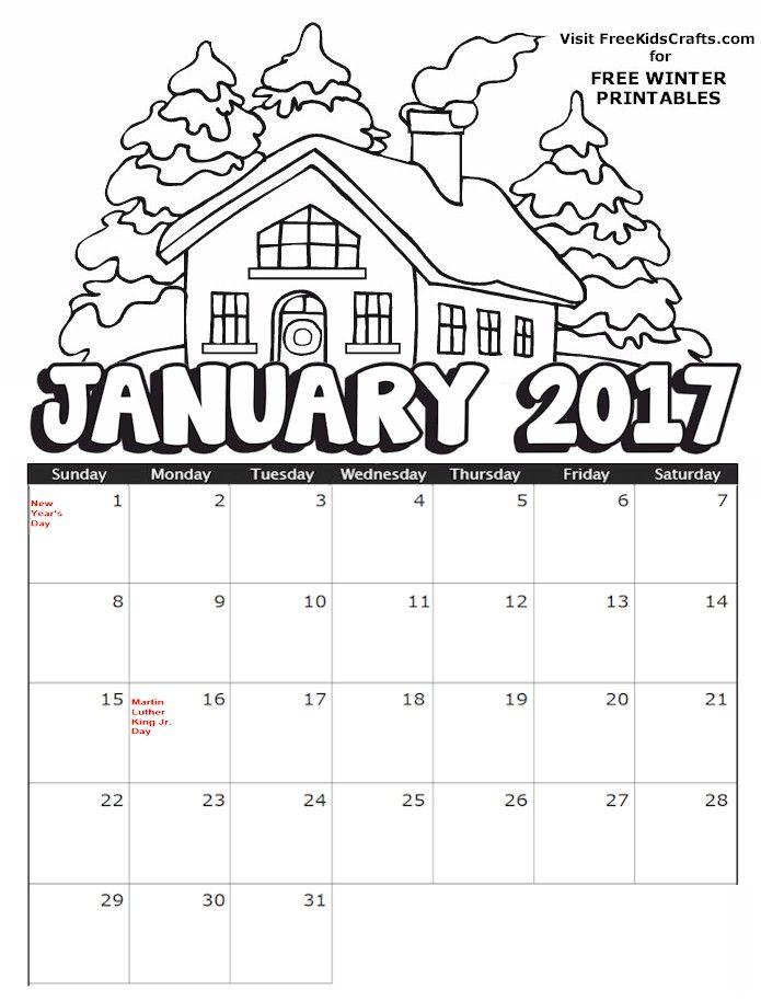 2018 Printable January Coloring Calendar Kids Calendar January Calendar Coloring Pages For Kids