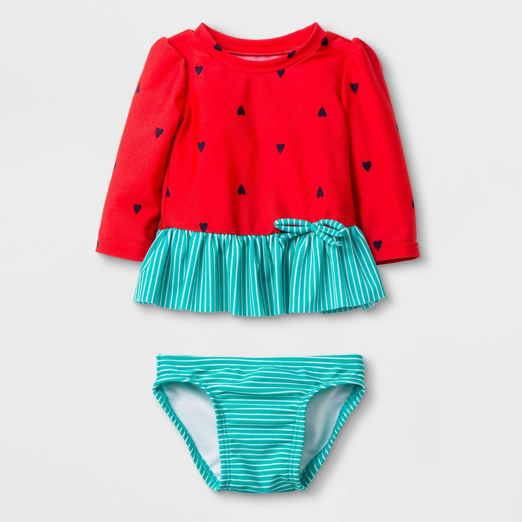 Baby Girls' Long Sleeve Watermelon Rash Guard Set Cat