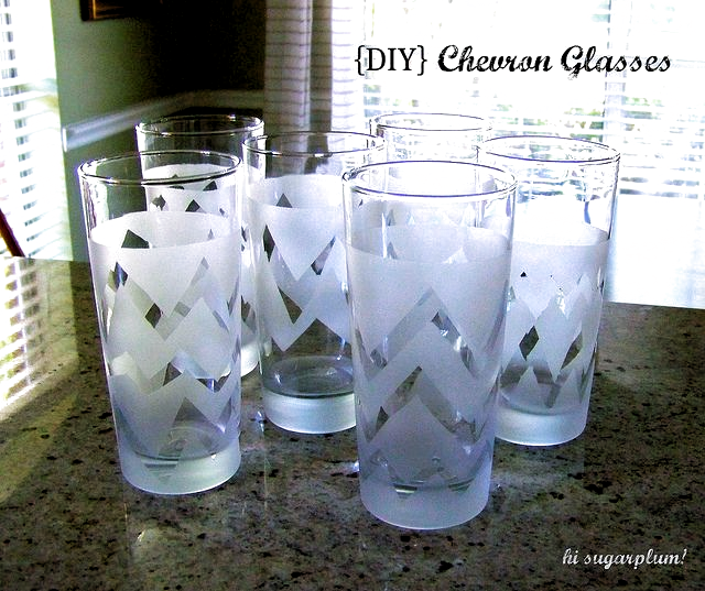 Diy Frosted Chevron Glasses In 2020 Frosted Glass Spray Chevron