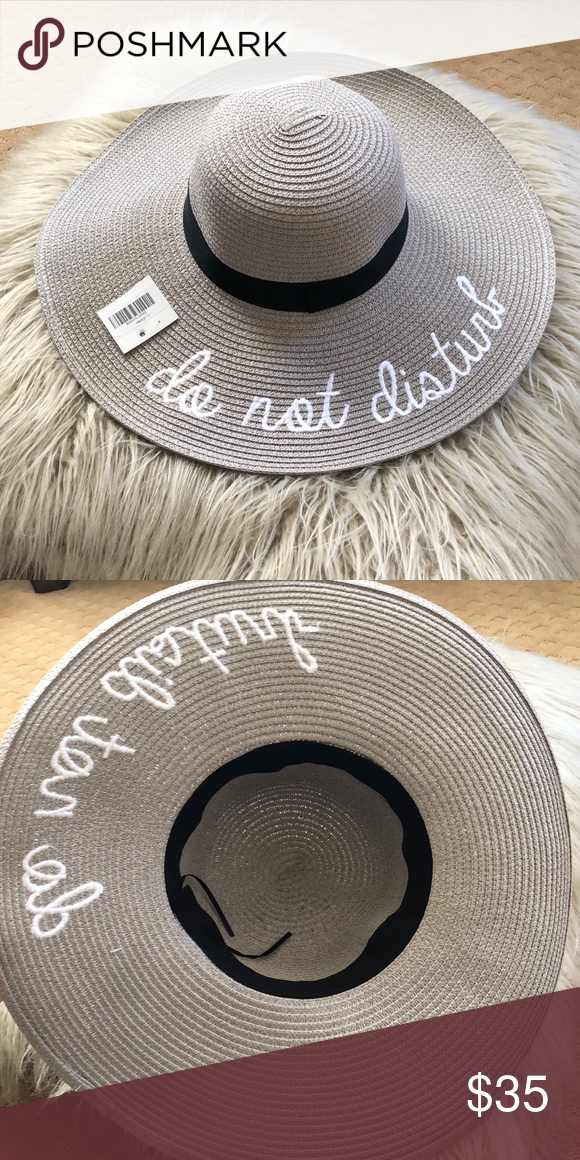 Wide Brim Hat Grey Do Not Disturb Wise Brim hat! One size fits most. Ties  can be adjusted inside to fit a smaller head. Super cute and perfect for  summer! 5b6b7be111d