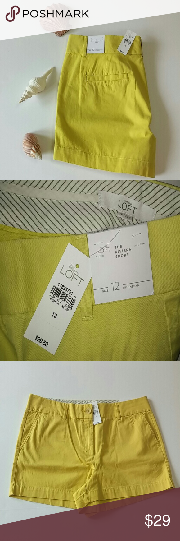 """NWT LOFT Ann Taylor Riviera Shorts Sz 12 Yellow New with Tags. LOFT Ann Taylor Riviera Shorts. Size 12. Color: Yellow. Flat Front. Two Front On Seam Pockets. Two Back Slit Pockets. Belt Loops. 100% Cotton. Machine Wash.  Measurements: 37"""" Waist - doubled 42"""" Hips - doubled 10-1/2"""" Rise 2-1/2"""" Inseam 14"""" Leg/Thigh Opening  Accessories and Props Not Included. LOFT Shorts"""