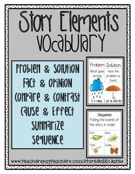 Story Elements Vocabulary Posters Story Elements Teacher Pay