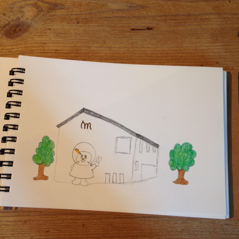 お絵描きなかおカフェにて