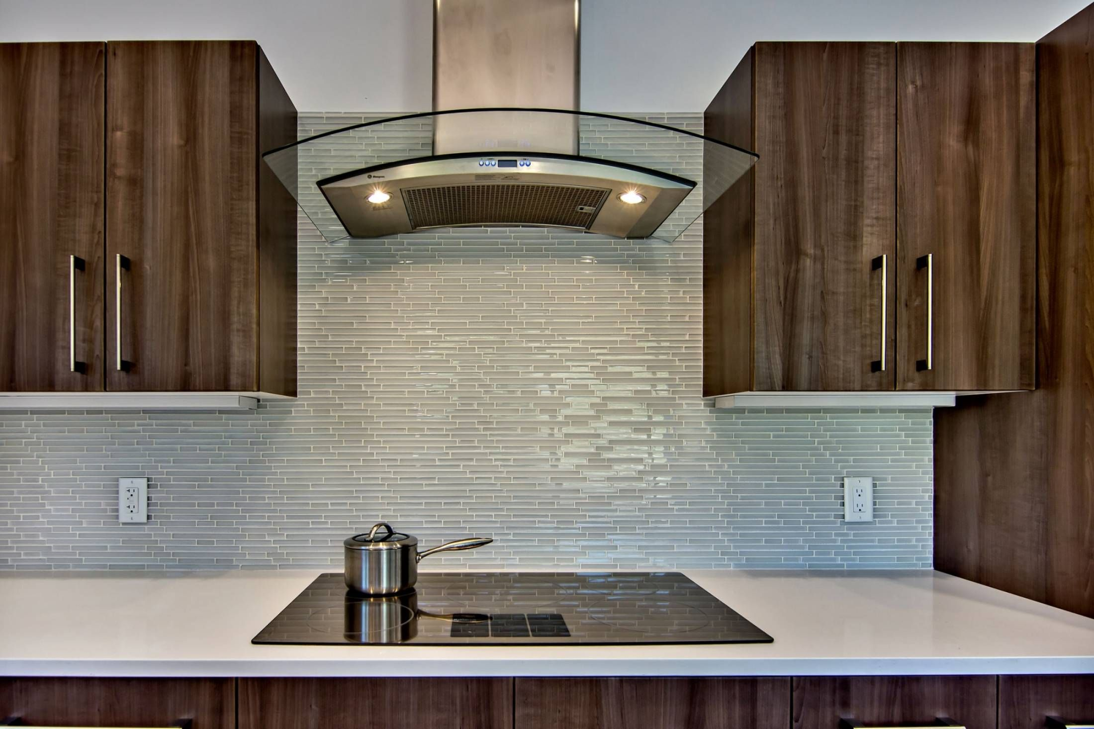 Decoration, Modern Kitchen Design With Fancy Inexpensive Mosaic Glass Tile Backsplash Behind Modern Kitchen Appliances And Rosewood Kitchen Cabinet White Quartz Countertop Design Ideas ~ Many Ways to Find Lovely Inexpensive Backsplash Options for your Kitchen