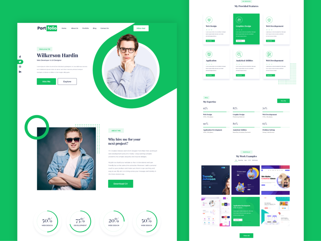 Green Portfolio Website Design Free Portfolio Website Portfolio Website Template Portfolio Website Design
