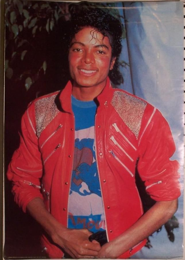 Vintage Michael Jackson Poster 1984 Wearing Red Multi Zippered