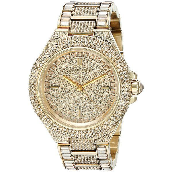 Incredible prices on Michael Kors Camille Swarovski Crystal Encrusted  Women\u0027s Watch which has Gold-Tone Stainless Steel Case and bracelet, Gold  Crystal Pave ...