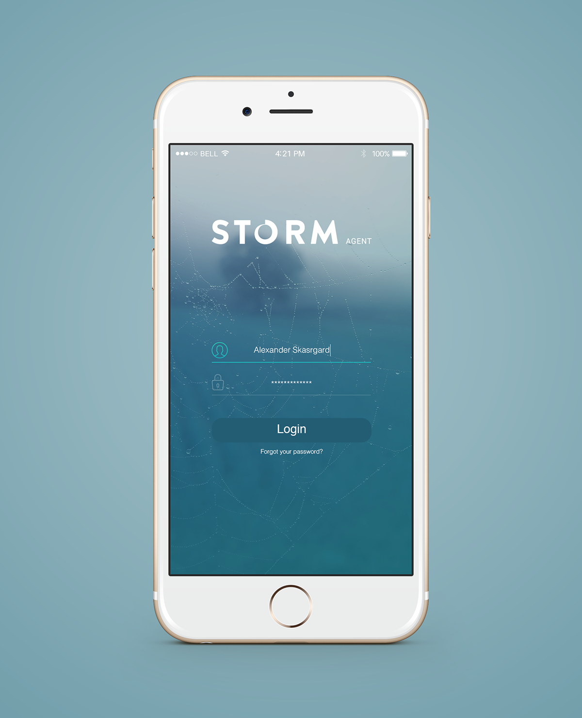storm agent ios app login screen concept on behance. Black Bedroom Furniture Sets. Home Design Ideas