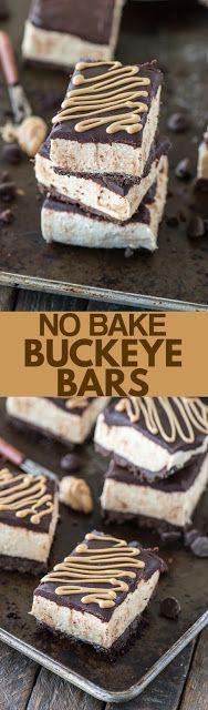 No Bake Buckeye Bars #enklaefterrätter