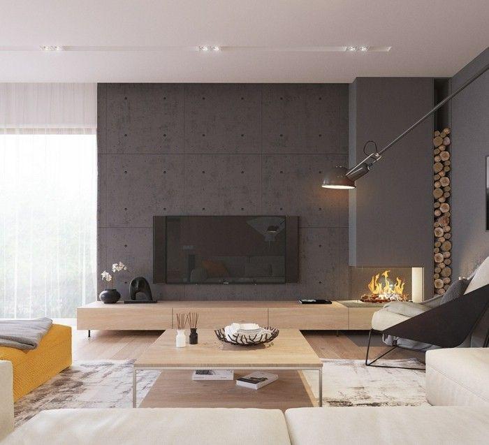 wanddesign wohnzimmer akzentwand beton dunkel feuerstelle | Living ...