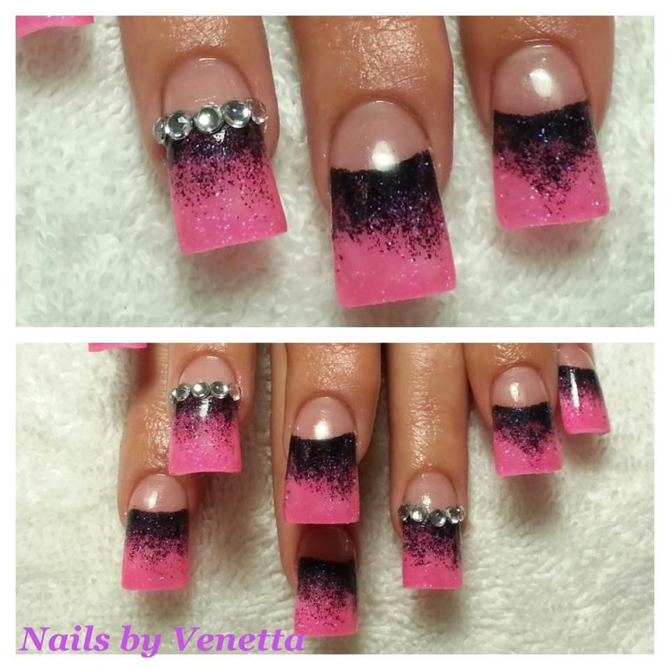Pink & Black with Diamonte - French Acrylic Nails, Glitter Fade ...