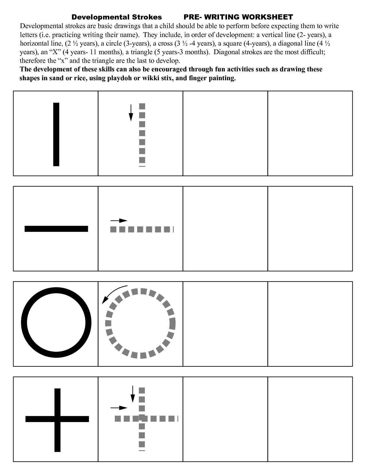 Pre Writing Strokes Worksheets edukacyjne Pinterest