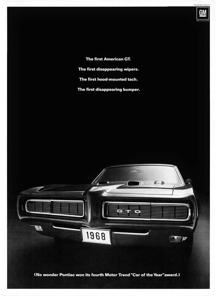 1968 GTO | Vintage Automotive Ads | Pinterest | Cars, Ads and Muscles