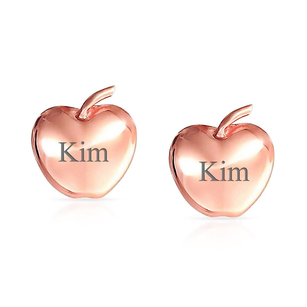 Photo of Fruit Teacher Apple Of My Eye Stud Earrings Rose Gold Plated Sterling