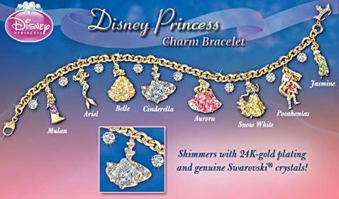 Disney Princess Charm Bracelet With Swarovski Crystals | Princess ...