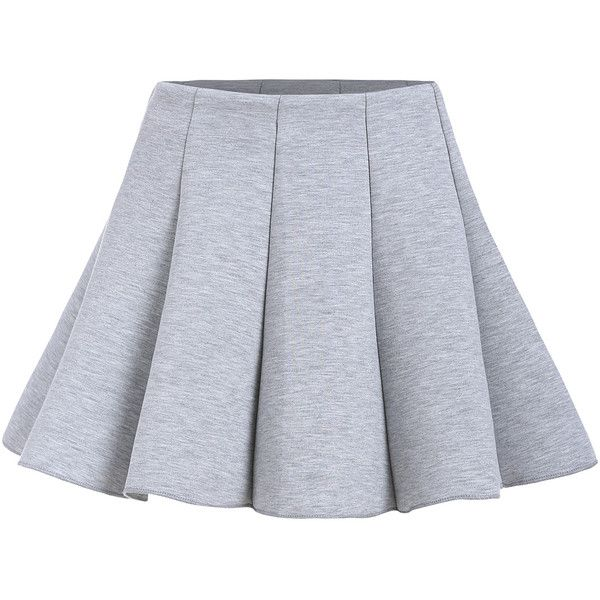 Zipper Flare Grey Skirt (£9.78) ❤ liked on Polyvore featuring skirts, grey, grey knee length skirt, gray skirt, flared hem skirt, knee length skirts and grey skirt