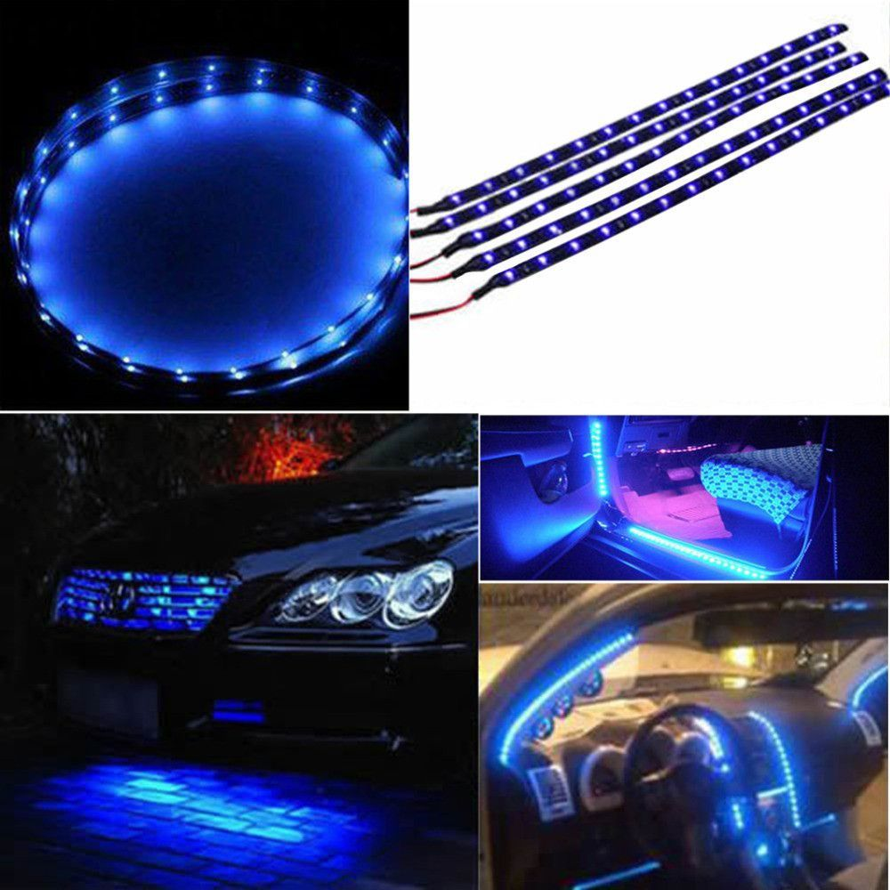 Led Strip Lights For Cars 30Cm Waterproof 15 Blue Led Car Vehicle Motor Grill Flexible Light