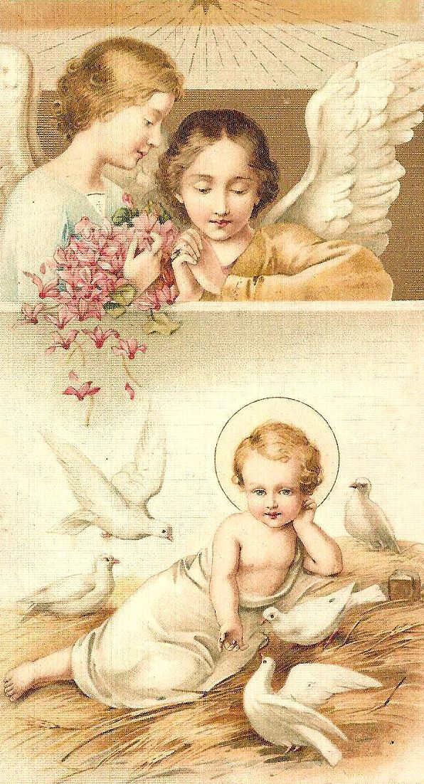 .Very sweet - holy card of Baby Jesus with angels
