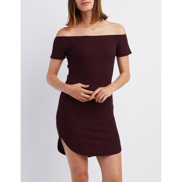 cf2bb2b255ff Charlotte Russe Ribbed Off-The-Shoulder Bodycon Dress ( 16) ❤ liked on  Polyvore featuring dresses