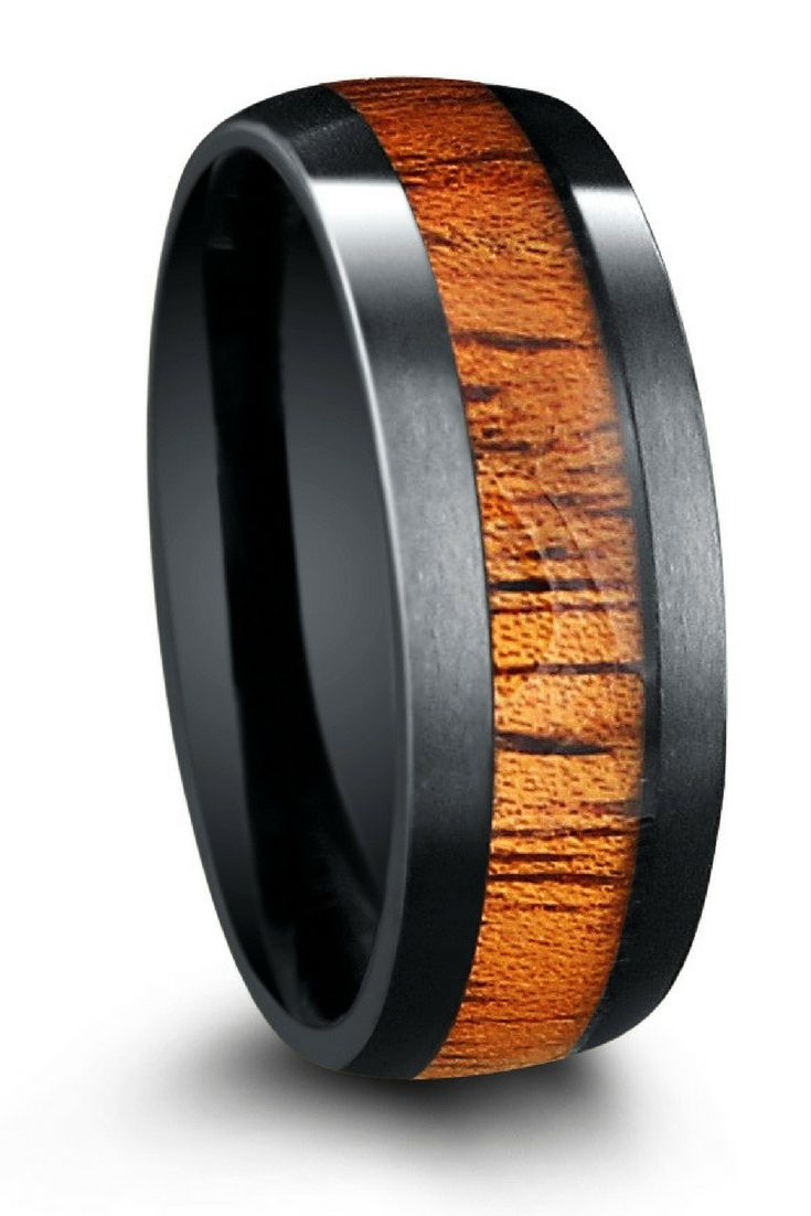 8mm Mens Black Tungsten Wood Wedding Band The Top Has Been Finished With A Matte Texture Interior High