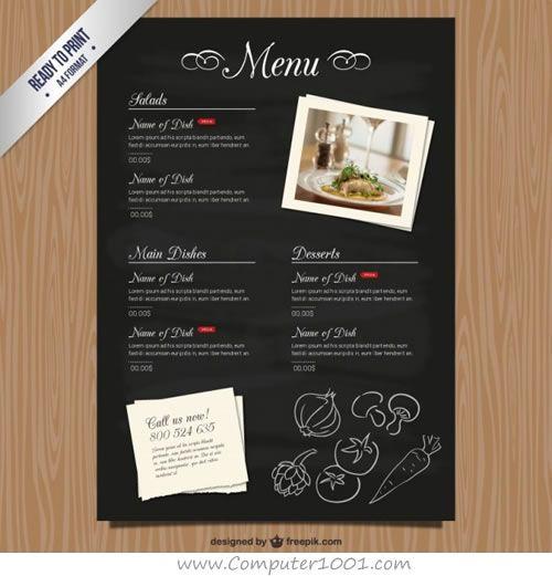 Cmyk Restaurant Menu Template Free Vector  Cafe Menu Templates Free Download