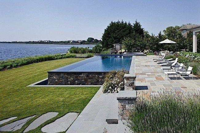 freistehender pool natursteinwand gartengestaltung | garten ideen, Terrassen ideen