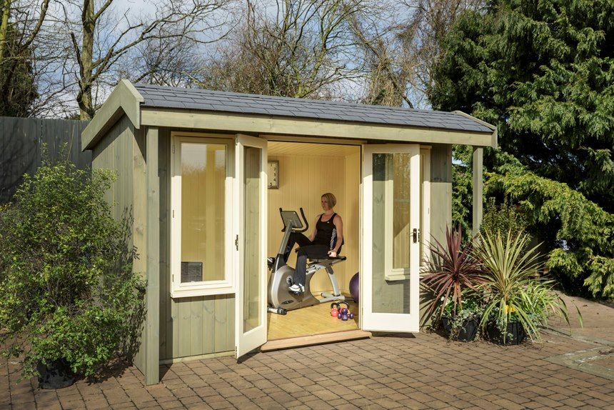 home gym shed great idea love it other things i like pinterest haus gartenhaus und. Black Bedroom Furniture Sets. Home Design Ideas