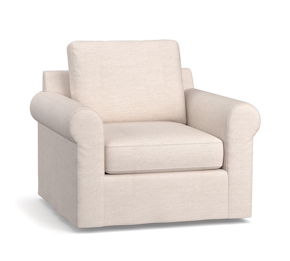 Jenner Roll Arm Slipcovered Swivel Armchair Products