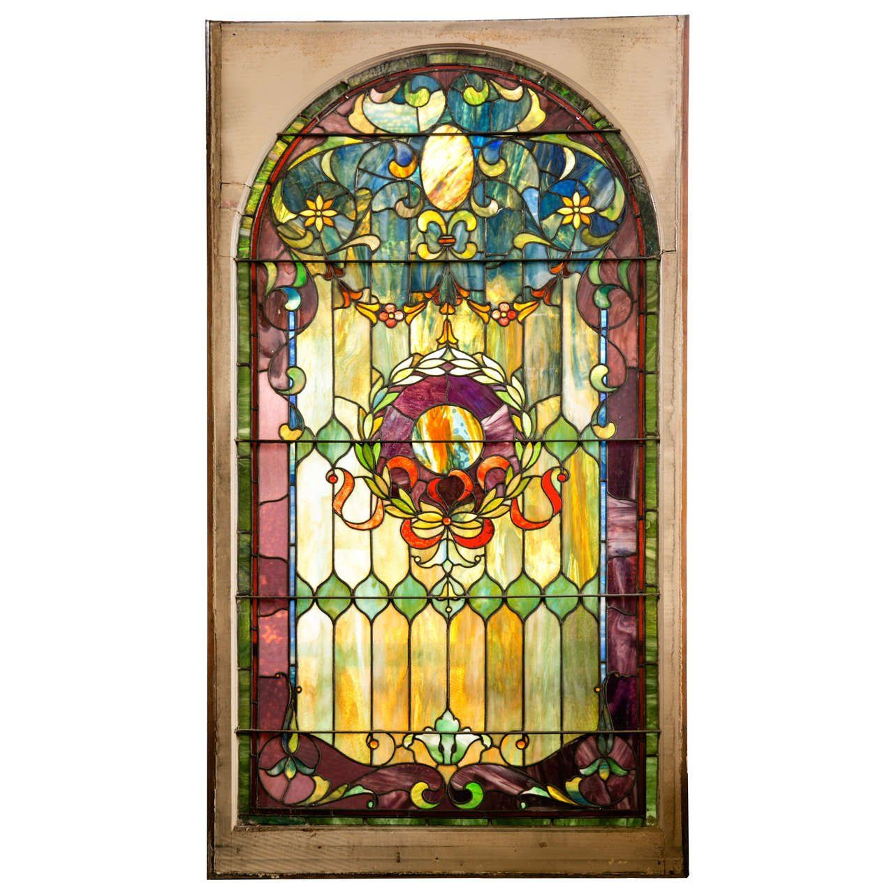 This Large Antique Stained Gl Window