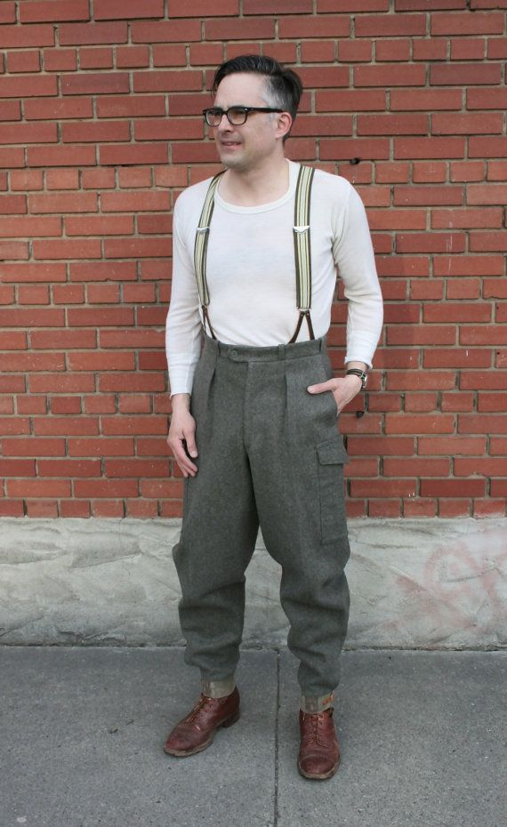 46b6827f5f10 Cold War 1950s CBV Karlskrona Heavy Wool Men s Swedish Army Pants by  MoonRiverMercantile