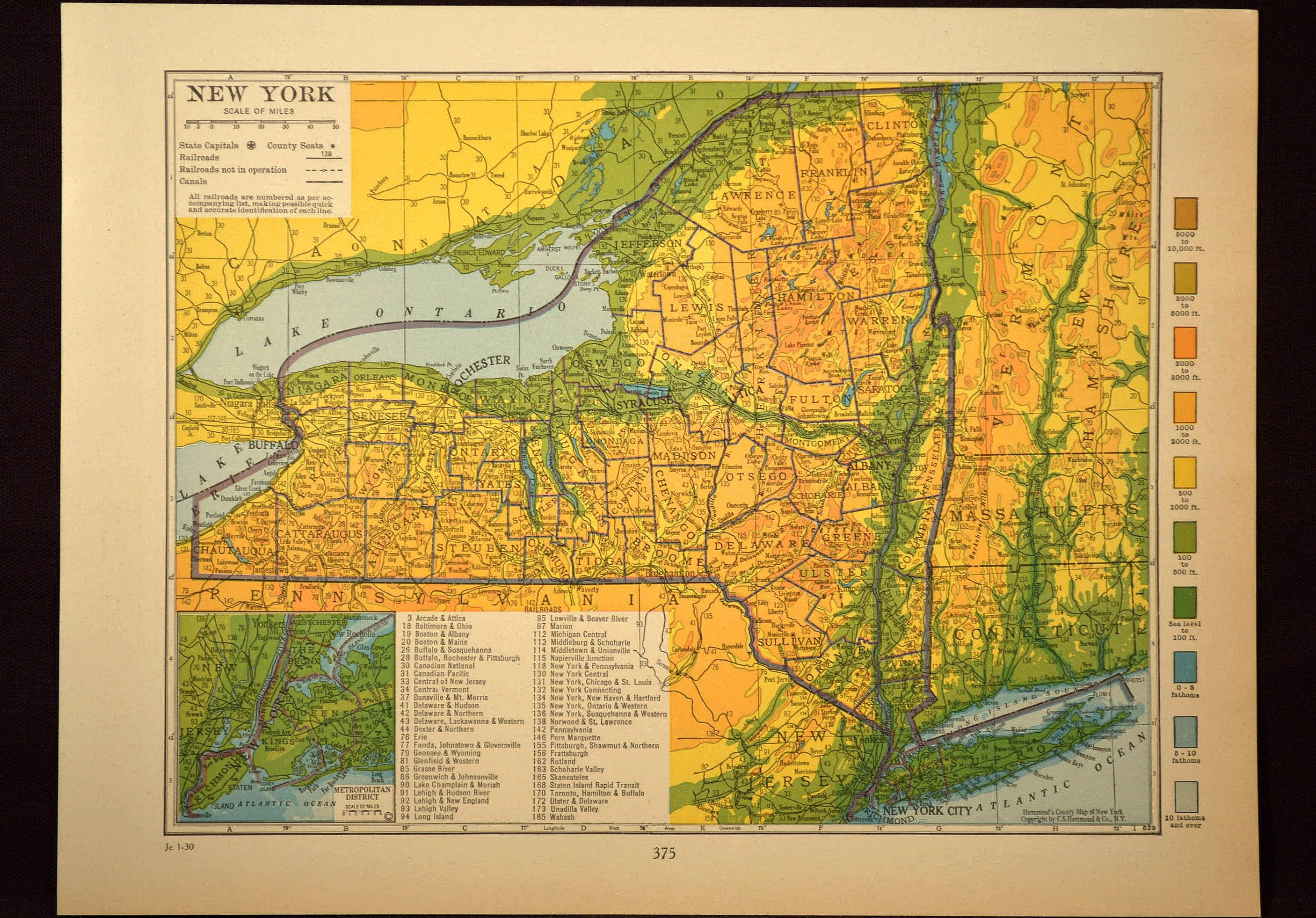 New York Map New York Topographic Map Colorful Colored Topo ...