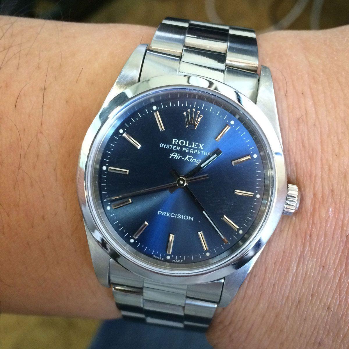 Rolex 14000 Air King Blue Dial Steel Watch Rolex, Rolex