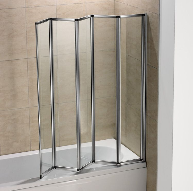 Shower Door Acrylic Translucent Folding Panels In Accordion Manner Easy Maintenance And Cleaning Top And Bottom Track Shower Screen Bath Screens Glass Shower