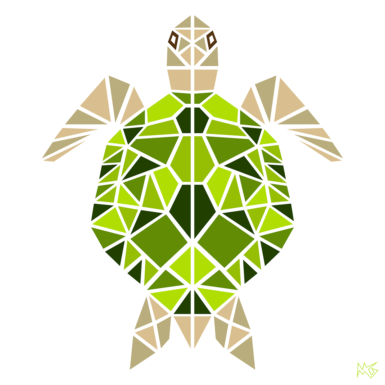 a geometric animal series created from shapes and monochromatic