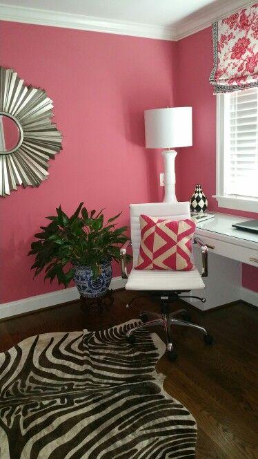 Watermelon walls zebra rug modern built ins | 700 living spaces ...