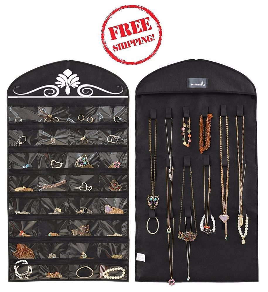 Closet Hanging Jewelry Organizer Travel Display Case Necklace
