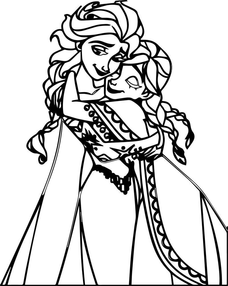 Sweet Elsa Anna Hug Coloring Page Princess Coloring Pages Mermaid Coloring Pages Coloring Pages