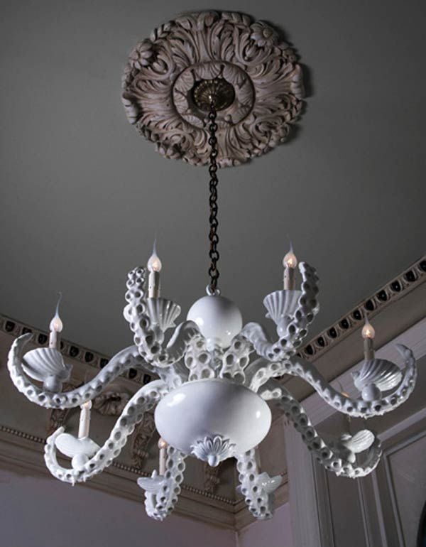 Coastal Beach House Octopus Chandelier by Adam Wallacavage : sea themed lighting - azcodes.com