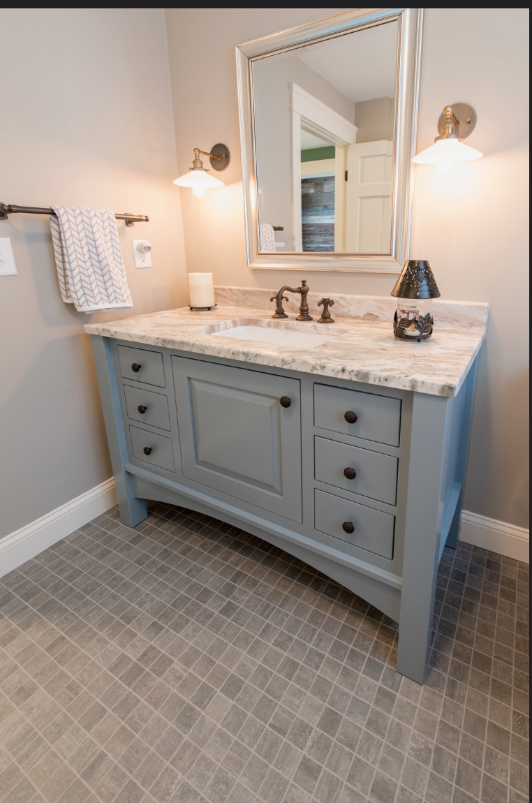 Grey Furniture Vanity with Arched Valance 1 2 Bath Remodel