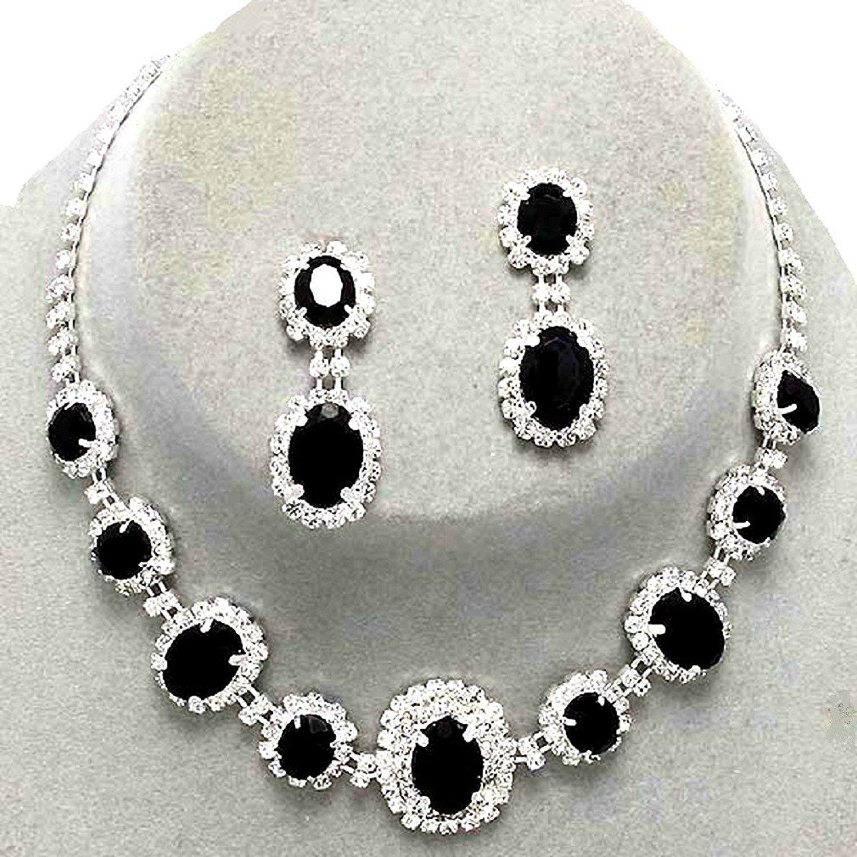 Christmas Gift for women Free shipping Black Jet Crystal Necklace Earrings Bracelet Bridal Jewelry Set Crystal Rhinestone Prom Earrings