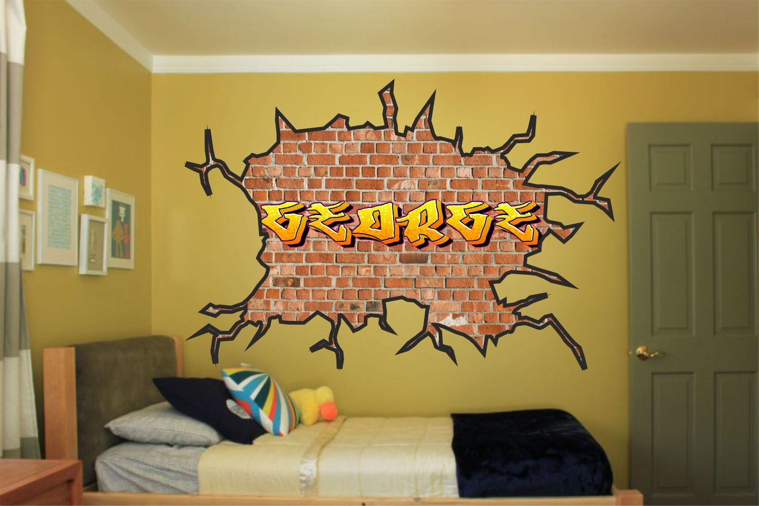 Large personalised name graffiti wall art sticker boys girls kids