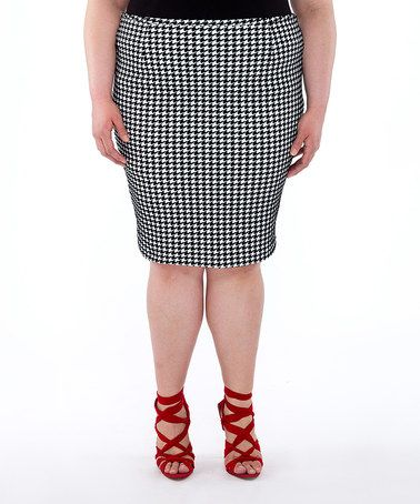 Look what I found on #zulily! Ivory & Black The Evening News Pencil Skirt - Plus by Poppy & Bloom #zulilyfinds