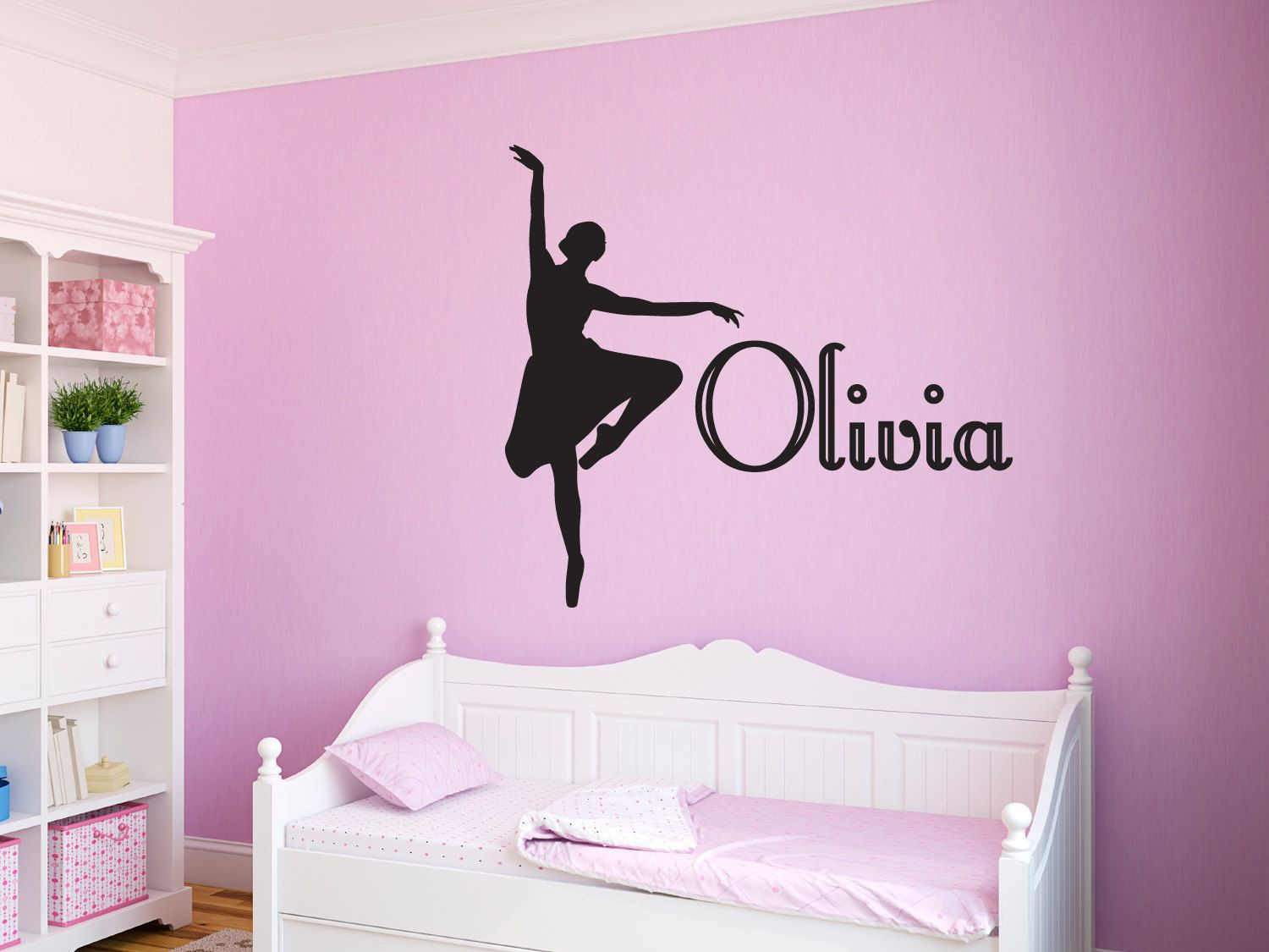Ballerina Vinyl Wall Decal Personalized Girls Name Ballet Decal - Custom vinyl wall decals dance
