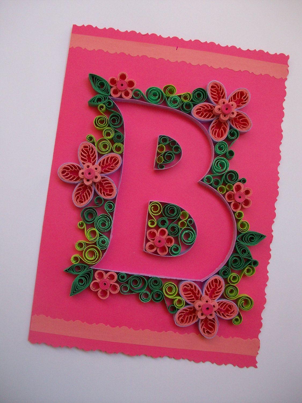3d Paper Art Monogram Letter B Personalised Letter Birthday Card