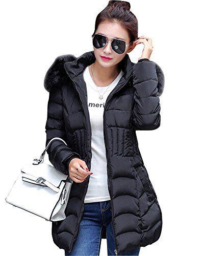 723dddc9e4f0 ZhuiKun Women s Faux Fur Hooded Down Coat Zip Up Padded Parka Long ...