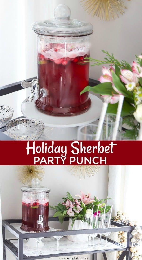 Christmas Sherbet Punch Recipe - Nonalcoholic & Alcohol Versions Easy Holiday Sherbet Punch Recipe to please a crowd. | christmas alcholic drinks holiday parties #alcoholpunchrecipes #christmas #holiday #punch #recipe #beverage #drink #party #ideas #alcohol #nonalcoholic #sherbert