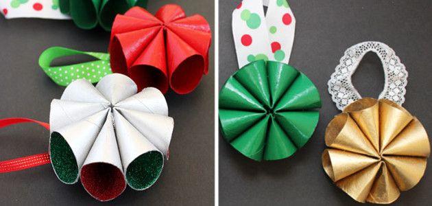 Manualidades con tubos de papel higi nico adornos para el - Adorno de navidad manualidades ...