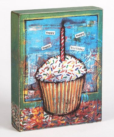 Take a look at this Blue & Brown Cupcake Happy Birthday Box Sign by Collins on #zulily today!